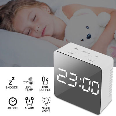 Mirror Digital LED Snooze Alarm Clock Time Temperature Night Mode Bedside Gifts