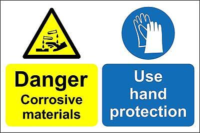 Warning corrosive materials use hand protection Safety sign
