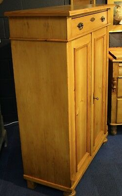 Vintage Continental Pine Cupboard With Drawer