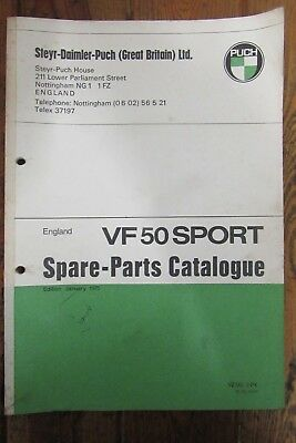 1975 Puch Vf50 Sport Spare Parts Catalogue