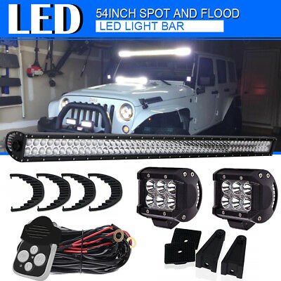 54inch 700W Straight LED LIGHT BAR KIT SPOT FLOOD COMBO Off-road SUV Boat 4WD 52