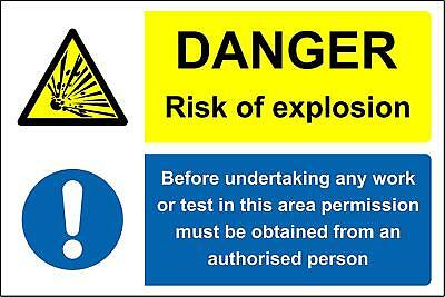 Danger risk of explosion before undertaking any work Safety sign
