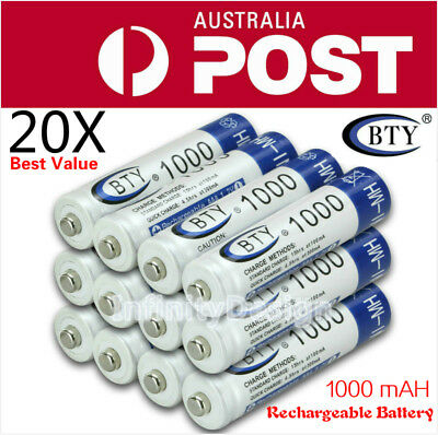 OZ 4-20X BTY AAA Rechargeable Battery Recharge Batteries 1.2V 1000mAh Ni-MH
