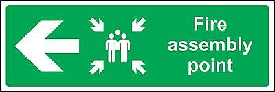 Fire assembly point directional left arrow Safety sign
