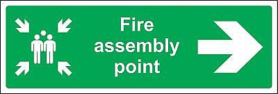 Fire assembly point directional right arrow Safety sign