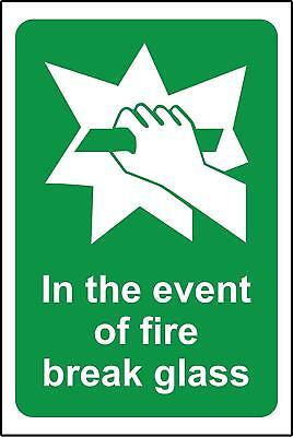 In the event of fire break glass Safety sign