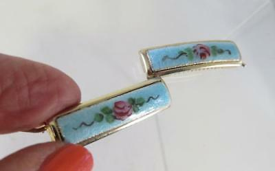Pair Of Guilloche Enamel Gold Toned Hair Barrettes With Roses