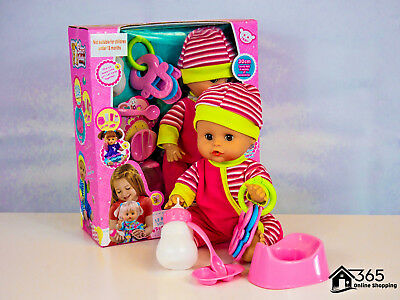 """12"""" Newborn Lifelike Baby Girl Doll With Sounds & Accessories Childrens Gift Toy"""