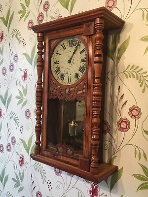 Early Victorian American 8 Day Wall Clock By New Haven