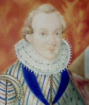 Good 19Th Century Portrait Miniature Painting Of An Elizabethan Gentleman