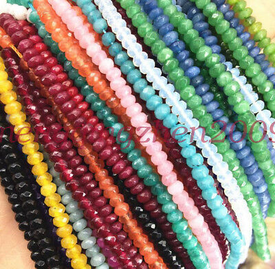 """2x4mm natural rondelle faceted gemstone abacus loose beads 15"""" jewelry beauty"""
