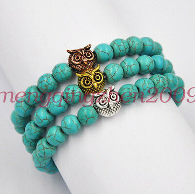 8mm Natural Turquoise Owl Head Buddist Prayer Beads Bracelet Mala  Hand Chain