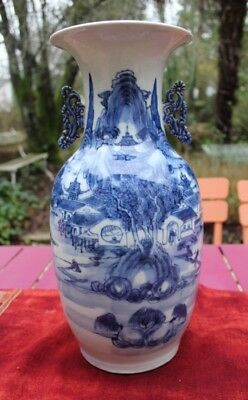 VASE CHINE BLANC BLEU XIXe, CHINESE WHITE AND BLUE 19TH