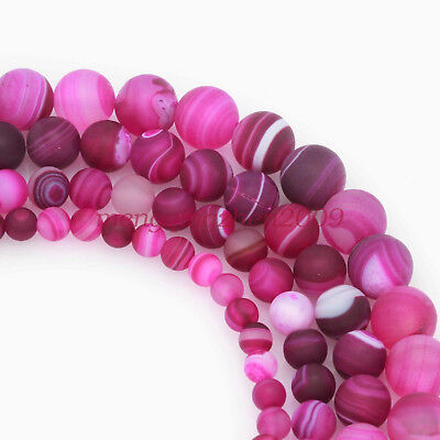 "Magenta Red Agate Gemstone Striped Matte Finish Round Loose Beads 15""6-8-10-12mm"