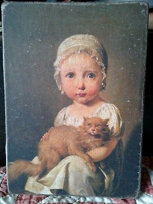Handmade Primitive Folk Art Girl in Cap with Cat Print on Canvas Board 5x7""