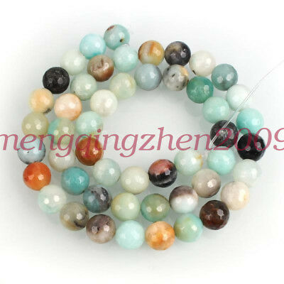 """Natural Amazonite Smooth Faceted Gemstone Loose Spacer Beads 4/6/8/10mm 15.5"""""""