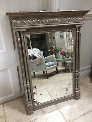 Large French Antique Bevelled Wall Mirror Oak Carved Painted Grey Gold Bedroom