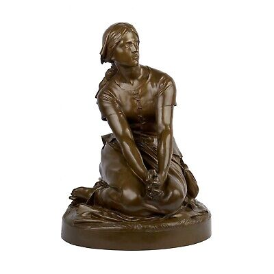 """Antique French Bronze Sculpture """"Joan of Arc"""" by  Henri Chapu & F. Barbedienne"""