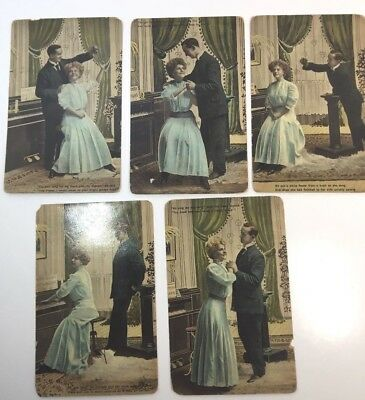 """Vintage Postcards Lot Of 5 """"Victorian Romance"""" By Thel, Series 3012, Unposted"""