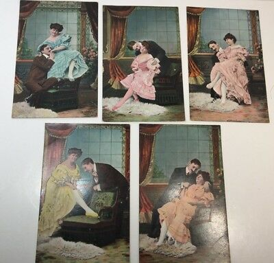Vintage Postcards Lot Of 5 Romance Victorian Couple  #418 Germany Unposted