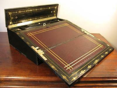 Antique English Victorian Vintage Writing Slope Cabinet Ebony Abalone Mop c1846