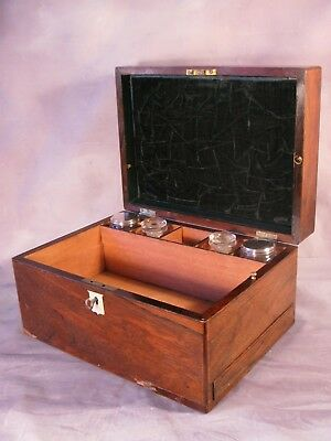 Antique Victorian Vintage Mahogany Vanity Cabinet Case Fitted Interior Date 1865