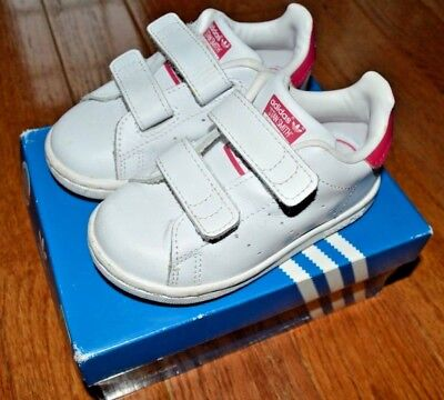 buy popular 7ffc4 bc508 GIRLS ADIDAS PINK Original Stan Smith Velcro Sneaker Tennis Shoes Toddler  6K 6