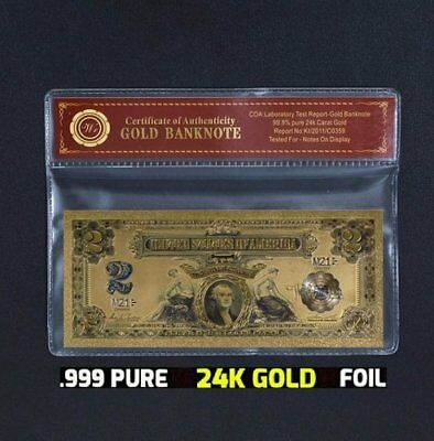 Limited Collectors 1899 $2 US Silver Certificate Type w/COA 24k Gold Foil