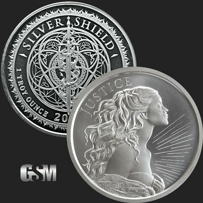 10 - 1 oz .999 Silver Rounds - Justice - Silver Shield - Brilliant Uncirculated