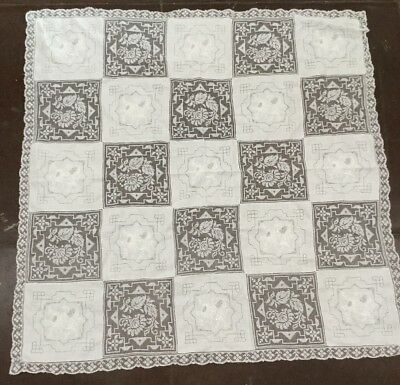 "Vintage 51"" Square Linen And Lace Table Cloth"