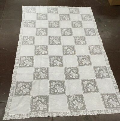 "Vintage 102"" X 62"" Linen And Lace Table Cloth"