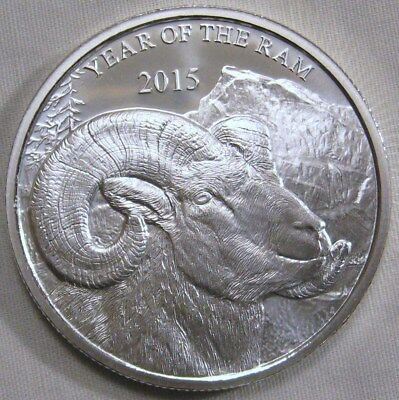 1 Troy oz 2015 Year of the Ram Silver Round .999