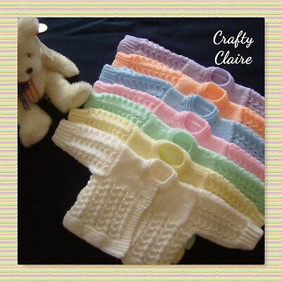 "**Hand knitted - Premature - Early Baby Matinee - Cardigan - Coat -  12"" Chest**"