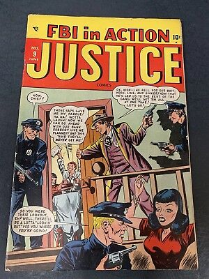 Justice # 13 (1948) Early Marvel Crime Comic Book - Nice Copy - Fbi In Action