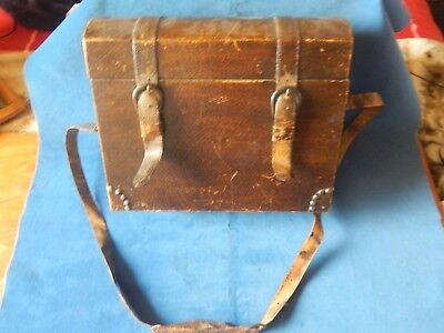 Vintage Wood Box With Carry Strap Old