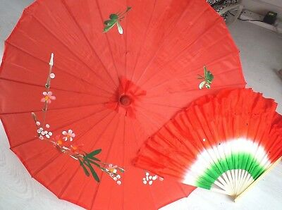 JAPANESE SMALL 56cm RED FLORAL PARASOL UMBRELLA GREEN DANCE FAN CHINESE PARTY
