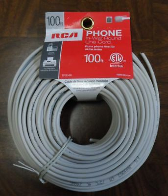 100 Foot Rca Phone In-Wall Round Line Cord For Extra Jacks New Unused 24 Awg