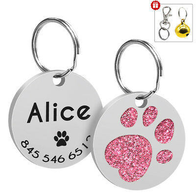 Personalised Dog Tags Glitter Paw Print Free Name Phone Number Engraved & Bell