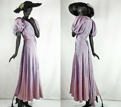 1930s Bias Cut Evening Gown Lavender Moire Satin Balloon Sleeves Sz 4-6 #1444