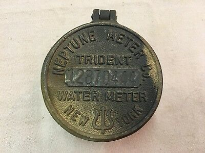 Vintage Brass Neptune Meter Co. Trident Water Meter Riser And Cover Paper Weight