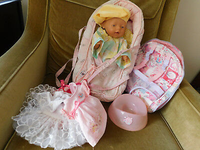 Zapf Creations Baby Born doll pink eyes, ZC backpack carrier 8 outfits potty
