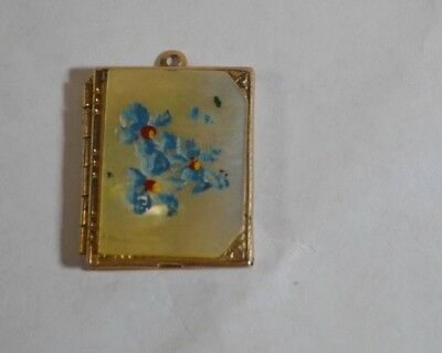 Vintage Mother Of Pearl Handpainted Forget Me Not Book Locket