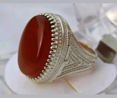 Mens Fine Silver 925 Sterling Ring, Yemeni Agate (Aqeeq) Stone PERSIAN TURKISH