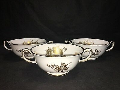 Hammersley & Co 6025 TWO HANDLED CREAM SOUP BOWLS Lot x 3 Gold Cornflower Superb