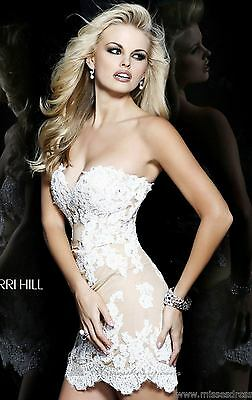 21187 Sherri Hill Ivory Crystal Lace Party Cocktail Prom Gown Dress Size USA 4
