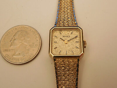 Genuine Rolex Solid 14K Yellow Gold Cellini 8388 Mechanical Band Bracelet Watch