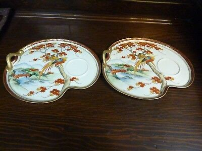 Signed Japanese Satsuma Porcelain Pottery 2 Tea Cup Saucers