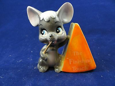 Vintage Ceramic Enesco Mouse & Cheese Toothpick Holder Japan