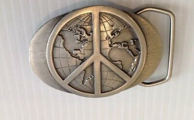 John Lennon.peace sign with globe belt buckle.vintage.1990