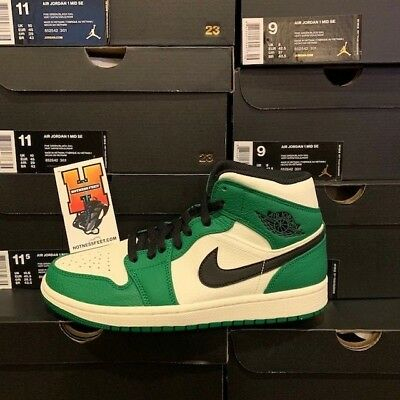 NIKE AIR JORDAN 1 Mid SE Pine Green White Black 852542-301 GS   Men ... 407f7fcba